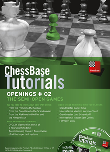 This is the product image for ChessBase Tutorials: Openings #2 Semi-open Games. Detail: CB TUTORIALS. Product ID: CBTU2DVDE.