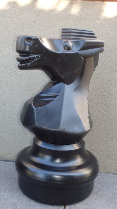 This is the product image for Large Giant Chess Knight Black. Detail: XTRAS. Product ID: GCHESSNB.