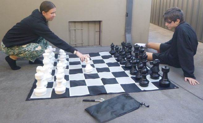 This is the product image for Small Giant Chess + Nylon Mat. Detail: GARDEN. Product ID: GCSN.