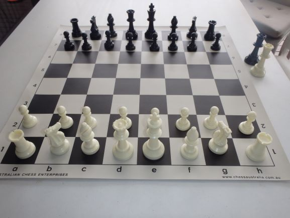 This is the product image for Standard Chess Pieces (White). Detail: PLASTIC PIECES. Product ID: PCS4.   Price: $17.50.