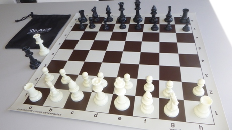 This is the product image for School Chess Set Special. Detail: PLASTIC. Product ID: PCSBROWN.