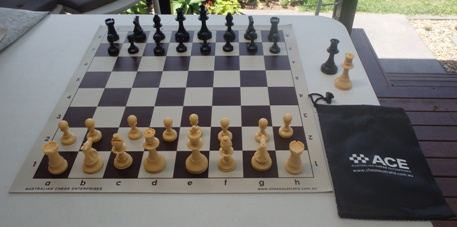 This is the product image for School Chess Set Special cream. Detail: PLASTIC SET. Product ID: PCSBROWNCREAM.