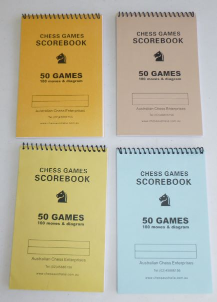 This is the product image for Chess Scorebook (50 games). Detail: STATIONERY. Product ID: SB01.