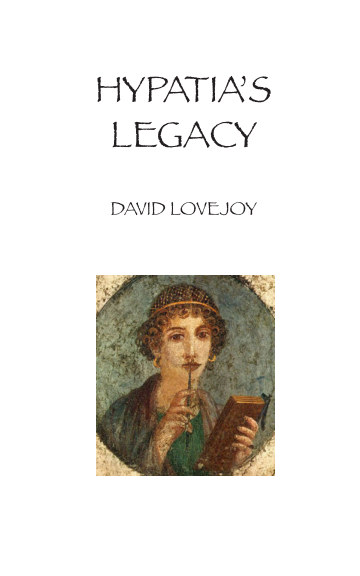 This is the product image for Hypatia's Legacy. Detail: Lovejoy,D. Product ID: 9781715233037.