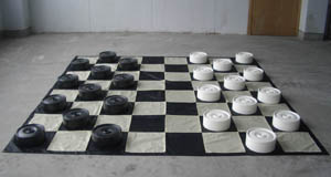 This is the product image for  Giant Draughts/Checkers Set with Mat. Detail: OUTDOORS. Product ID: GDC.