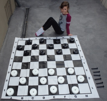 This is the product image for Mini Draughts/Checkers Set. Detail: OUTDOORS. Product ID: GDCSB.