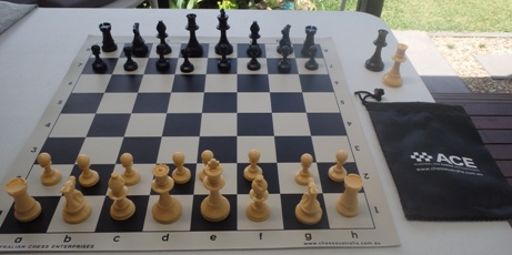 This is the product image for School Chess Set Special cream. Detail: PLASTIC SET. Product ID: PCSBLACKCREAM.