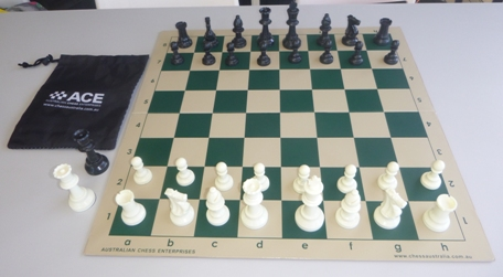 This is the product image for School Chess Set fold up board. Detail: PLASTIC SET. Product ID: PCSPECIAL.
